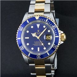 Rolex Two Tone Blue Submariner Men's Watch