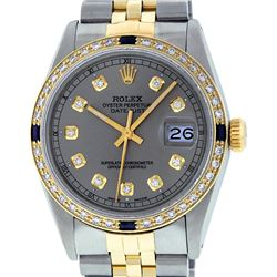 Rolex Mens 2T Yellow Gold & SS Slate Grey Diamond And Sapphire Datejust Wristwat