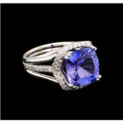 6.11 ctw Tanzanite and Diamond Ring - 14KT White Gold