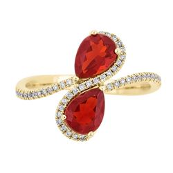 1.16 ctw Fire Opal and Diamond Ring - 14KT Yellow Gold