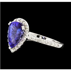 1.72 ctw Tanzanite and Diamond Ring - 14KT White Gold