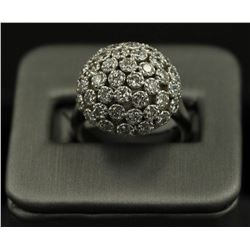 2.50 ctw Diamond Flower Design Ring - 14KT White Gold