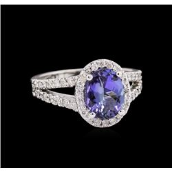 1.66 ctw Tanzanite and Diamond Ring - 14KT White Gold