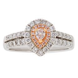 0.76 ctw Pink and White Diamond Ring - 18KT White and Rose Gold