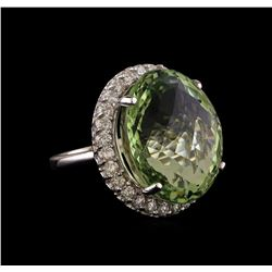 14KT White Gold 30.80 ctw Green Quartz and Diamond Ring