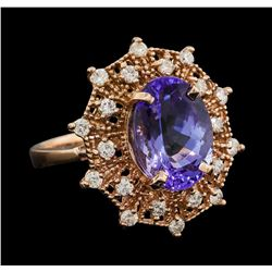 5.10 ctw Tanzanite and Diamond Ring - 14KT Rose Gold
