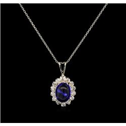 4.28 ctw Tanzanite and Diamond Pendant With Chain - 14KT White Gold