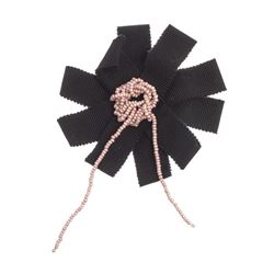 Chanel Black Ribbon Pink Beaded Center Camellia Flower Brooch
