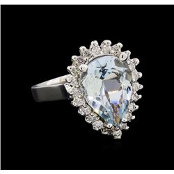 3.10 ctw Aquamarine and Diamond Ring - 14KT White Gold