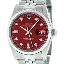 Mens Rolex Stainless Steel Red Diamond And White Gold Fluted Datejust Wristwatch