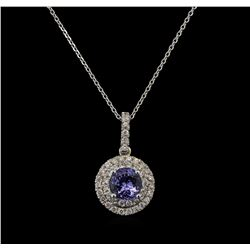 1.40 ctw Tanzanite and Diamond Pendant With Chain - 14KT White Gold