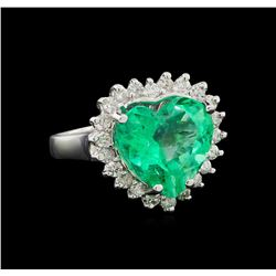GIA Cert 6.11 ctw Emerald and Diamond Ring - 14KT White Gold