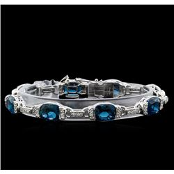 Crayola 27.00 ctw Blue Topaz and White Sapphire Bracelet - .925 Silver