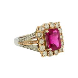 2.77 ctw Rubellite and Diamond Ring - 14KT Rose and White Gold