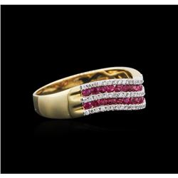 14KT Yellow Gold 0.57 ctw Ruby and Diamond Ring