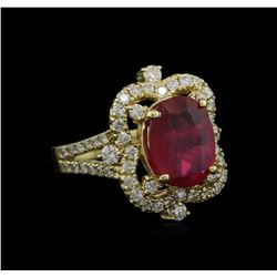 5.00 ctw Ruby and Diamond Ring - 14KT Yellow Gold