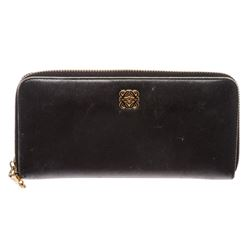 Loewe Black Leather Zip Around Long Wallet