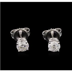 0.86 ctw Diamond Solitaire Earrings - 14KT White Gold