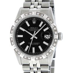 Rolex Mens Satinless Steel Black Index Pyramid Diamond Datejust Wristwatch