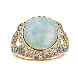 4.03 ctw Ethiopian Opal and Diamond Ring - 14KT Yellow Gold