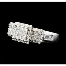 1.00 ctw Diamond 3-Square Ring - 10KT White Gold