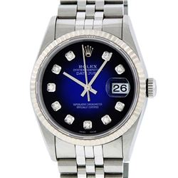 Rolex Mens SS Blue Vignette Diamond Datejust Quickset Wristwatch