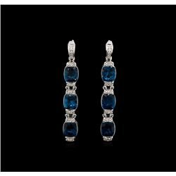 Crayola 21.00 ctw Blue Topaz and White Sapphire Earrings - .925 Silver