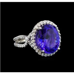 GIA Cert 8.82 ctw Tanzanite and Diamond Ring - 14KT White Gold