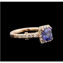 1.52 ctw Tanzanite and Diamond Ring - 14KT Rose Gold
