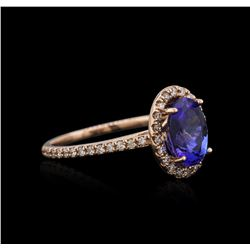 14k Rose Gold 2.03 ctw Tanzanite and Diamond Ring