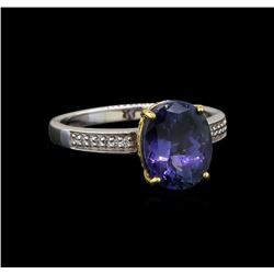 18KT Two-Tone Gold 3.07 ctw Tanzanite and Diamond Ring