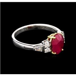 1.87 ctw Ruby and Diamond Ring - 18KT Two-Tone Gold