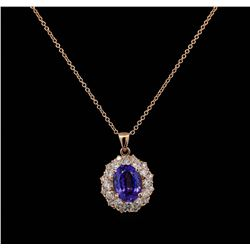 3.20 ctw Tanzanite and Diamond Pendant With Chain - 14KT Rose Gold