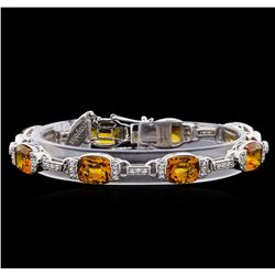 Crayola 20.00 ctw Citrine and White Sapphire Bracelet - .925 Silver