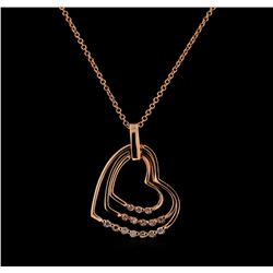 0.18 ctw Diamond Pendant With Chain - 14KT Rose Gold