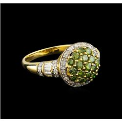 0.96 ctw Tsavorite and Diamond Ring - 14KT Yellow Gold