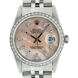 Mens Rolex Stainless Steel Pink MOP Baguette Diamond Datejust Wristwatch