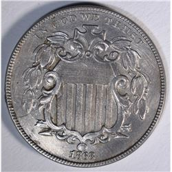 1868 SHIELD NICKEL, AU+