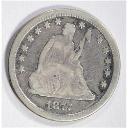 1877-CC SEATED QUARTER, FINE