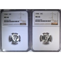 2 - 1944 MERCURY DIMES NGC MS66