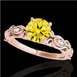 1.1 CTW Certified Si Intense Yellow Diamond Solitaire Antique Ring 10K Rose Gold - REF-156Y4K - 3463
