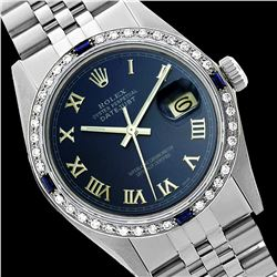 Rolex Men's Stainless Steel, QuickSet, Roman Dial with Diam/Sapphire Bezel - REF-521N7A