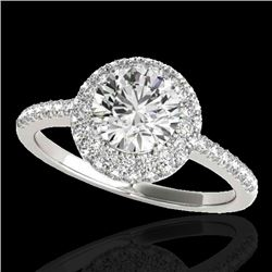 1.6 CTW H-SI/I Certified Diamond Solitaire Halo Ring 10K White Gold - REF-227A3X - 33670