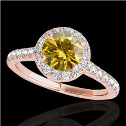 1.4 CTW Certified Si/I Fancy Intense Yellow Diamond Solitaire Halo Ring 10K Rose Gold - REF-209X3T -