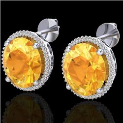 20 CTW Citrine & Micro Pave VS/SI Diamond Halo Earrings 18K White Gold - REF-118W2F - 20268