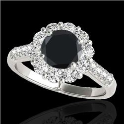 2 CTW Certified VS Black Diamond Solitaire Halo Ring 10K White Gold - REF-98A9X - 33421