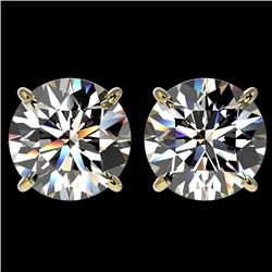 4 CTW Certified H-I Quality Diamond Solitaire Stud Earrings 10K Yellow Gold - REF-1237M5H - 33133