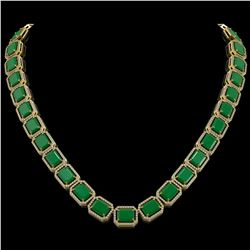 84.94 CTW Emerald & Diamond Halo Necklace 10K Yellow Gold - REF-1000H5A - 41476