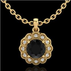 1.15 CTW Fancy Black Diamond Solitaire Art Deco Stud Necklace 18K Yellow Gold - REF-89M3H - 37844