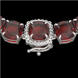 87 CTW Garnet & VS/SI Diamond Halo Micro Pave Necklace 14K White Gold - REF-320N2Y - 23346
